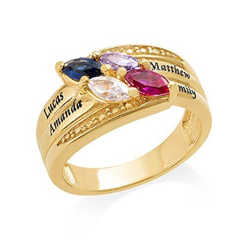 Yanday 4 tropfenförmige Birthstone Ringe 925 Sterling Silber Ringe Custom Name Ring(18 Karat (750) Gelbgold 55 (17.5)) 55 Video-kamera