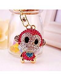 Banggood ELECTROPRIME Crystal Keyring Charm Pendant Bag Key Ring Chain Keychain Pink Monkey