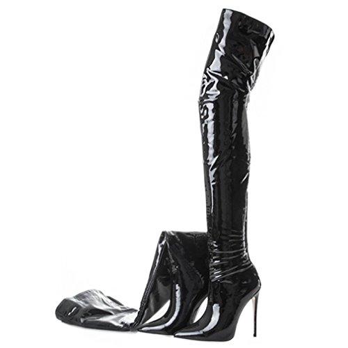ENMAYER Femmes PU Matériel Chaussures Sur-le-genou Bottes Haut Talons Pointu Longue Bottes Noir