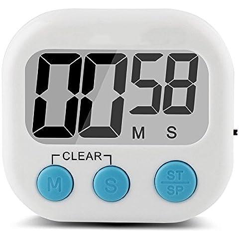 Gian Comics grande Display LCD sveglia digitale Kitchen Timer, Timer da cucina cucina Timer Cronometro elettronico allarme dei ricordi con batteria magnetica Blau-mit Schalter