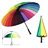 MENGCORE 24k Rib Large Color Rainbow Umbrella Fashion Long Handle Straight Anti-UV Sun/Rain
