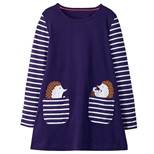 VIKITA Mädchen Baumwolle Langarm Streifen Tiere T-Shirt Kleid JM7667 7T