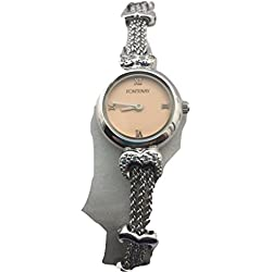 Fontenay Damen-Armbanduhr Quarz Rosa Zifferblatt Kette Armband mit Herz Form links
