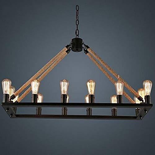 ZLL Wohnzimmer-Deckenleuchte, 14-Licht Hanf-Seil-Leuchter-Metallweinlese-rustikale Land-Art-hängende Lampen-Rechteck-Insel-Lichter, Haushalts-Leuchter,100 * 72 cm -