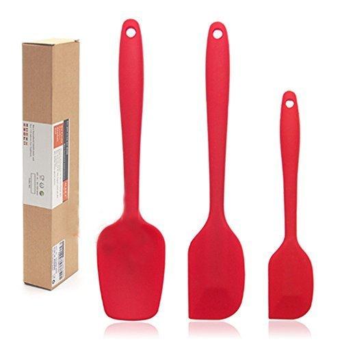 ! Jechery spatola in silicone resistente al calore set spatole piccole e grandi, antiaderente flessibile in gomma cottura cucchiaio utensili da cucina 3-pezzi rosso miglior prezzo