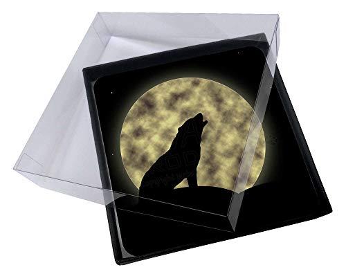 Advanta - Coaster Set 4X Howling Wolf und Mond Bild Setzer gesetzt Wolf Coaster Set