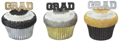 GRADUATION (12) GRAD Silver Gold Black Cupcake Cake Topper Decors Pop Pics Pick by Lgp (Cake Graduation Pops)