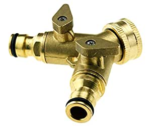 3/4 TWO WAY DOUBLE GARDEN TAP CONNECTOR ADAPTOR SOLID BRASS by Micro Trader