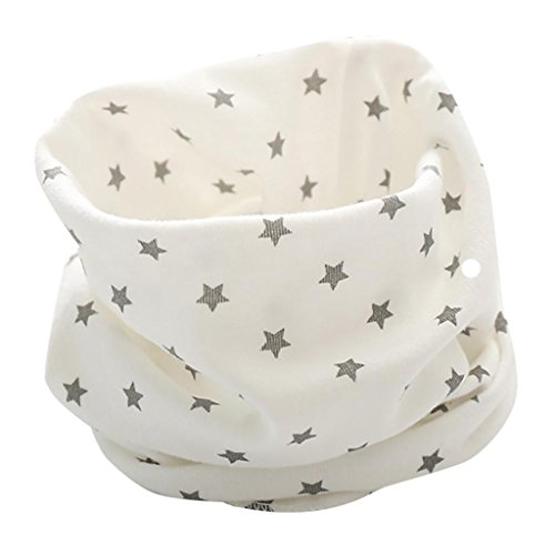Otoño Invierno Bufanda para Bebé Niños Niñas,O Cuello Patrón de Estrellas Algodón Pañuelos By VENMO (blanco)