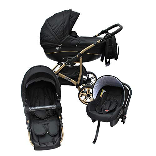 Cleo Kombi Kinderwagen 3 in 1 schwarz/gold - mit Vollgummireifen