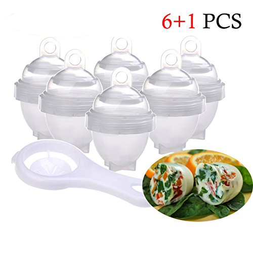 Eierkocher, Premium Antihaftbeschichtetes Silikon Eierkocher Eiko, Ei mit One ALBUMIN Trenner BPA-frei und spülmaschinenfest weiß (7Pack) (Ei-albumin)