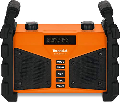 TechniSat DIGITRADIO 230 OD mobiles DAB+/UKW-Baustellenradio mit Akku und Bluetooth-Audiostreaming orange
