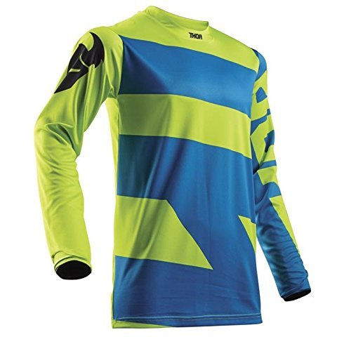 THOR PULSE LEVEL YOUTH Motocross Kinder Jersey 2018 - electric blau lime (Thor Racing)