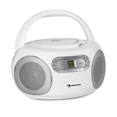 auna Haddaway CD Boombox, CD-Player, Bluetooth, UKW-Radiotuner, AUX-Eingang, LED-Display, Strom/Batteriebetrieb, weiß