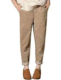 Sarouel Pantalon De Poche en Velours Côtelé Taille élastique Solide  Décontracté Femmes Pantalons ff382991f70