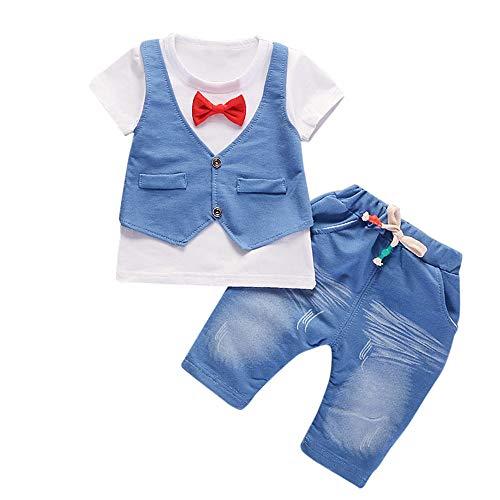 feiXIANG Baby Set Junge Kids Fake Zwei Stücke T-Shirt Hosen Kleidung Set Mode Outfits Kurzarm Anzug(Weiß,80/S)