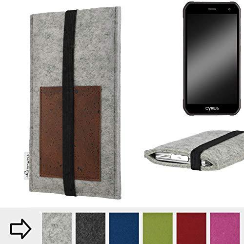 für Cyrus CS 40 Handyhülle Case SINTRA mit Kartenfach (Braun) und Gummiband-Verschluss (schwarz) - maßgefertigte Smartphone Tasche Schutz Hülle aus 100% Wollfilz (hellgrau) für Cyrus CS 40
