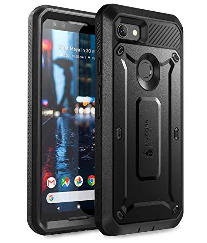 SUPCASE Google Pixel 3 Hülle 360 Grad Handyhülle Bumper Case Hybrid Schutzhülle Cover [Unicorn Beetle PRO] mit eingebautem Displayschutz und Gürtelclip für Google Pixel 3 2018 (Schwarz)