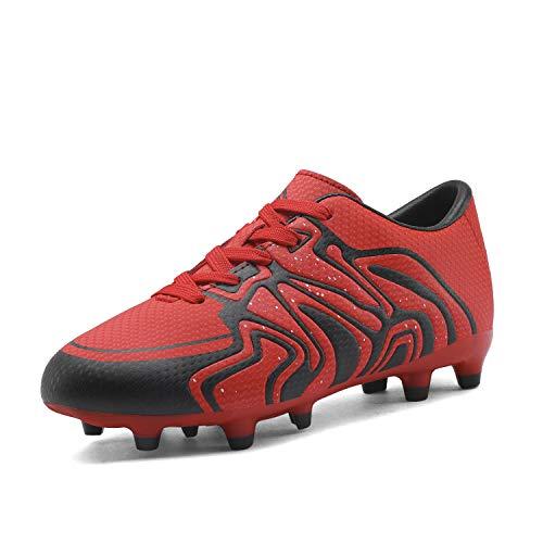 DREAM PAIRS 160472-K Jungen Mädchen fußballschuhe Rot Schwarz Silber 34 EU (Fußball-stollen Kind,)