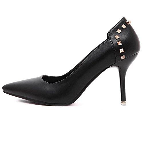 AalarDom Femme Dépolissement Stylet Pointu Tire Chaussures Légeres Noir-8CM