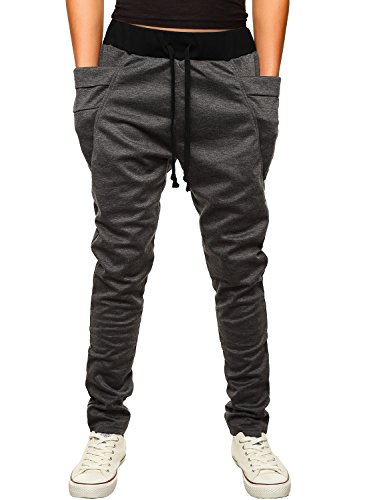 HEMOON Pantaloni da Uomo Jogging Tuta sportivo Tacksuit Slim Fit Grigio scuro Medium