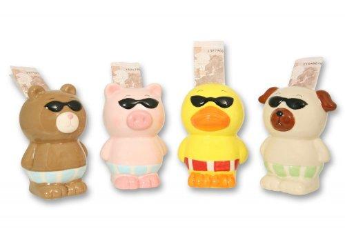 Unbekannt Comic-Sparfigur Tier mit Brille, Modell:- Schwein