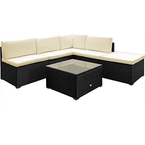 Poly Rattan Lounge Set Creme Schwarz XXL ✔ 20cm dicke Rückenkissen ✔ Einzelelemente flexibel kombinierbar ✔ UV-beständiges Polyrattan ✔ Sitzgarnitur Couch Sitzgruppe ✔ Modellauswahl
