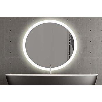 Badspiegel Beleuchtet Led.London Runder Spiegel Mit Led Beleuchtung Badspiegel Zimmer Spiegel Beleuchtet 60cm Warmweiss