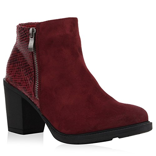 Stiefelparadies Klassische Damen Stiefeletten Leder-Optik Boots Block Absatz Schuhe 107598 Burgund Kroko 40 | Flandell® (Schuhe Burgund Leder)