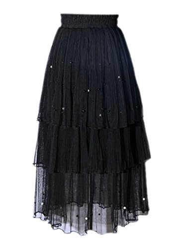 Retro Kostüme Mädchen Pin Halloween Up (Honeystore Damen's Chiffon Boho Plissee Retro Maxi langer Rock-elastischen Bund Tanz-Kleid Schwarz One)