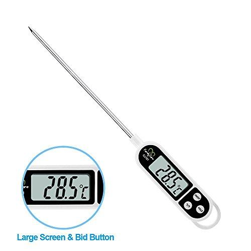 Thermomètre de Cuisine - Thermomètre de Cuisson Numérique en Acier Inoxydable [lecture Instantanée 5 Secondes] Ecran LCD Anti-Corrosion avec Sonde BBQ Barbecues Maison Cuisine Family Care