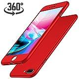 Luckydeer iPhone 7 Plus Hülle, mit [1x Panzerglas], iPhone 7 Plus Handyhülle [360 Grad Komplett Schutz], iPhone 7 Plus Hülle Rot [Ultra Dünn] (Rot 5,5 Zoll)