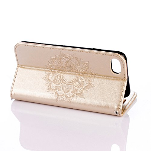 Flip Cover per iPhone 7 4.7,Custodia per iPhone 7 4.7 Cover Fiori,BtDuck Ultra Sottile PU Pelle Retro modello di Fiori Mandala Shell protettivi Bumper Wallet Caso Custodia in Pelle per iPhone 7 4.7 Co iPhone 7 4.7 -Oro