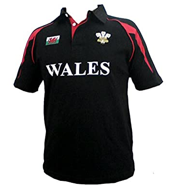 Wales Welsh Black Cotton Rugby Shirt from Welshsuperstore welsh Gifts