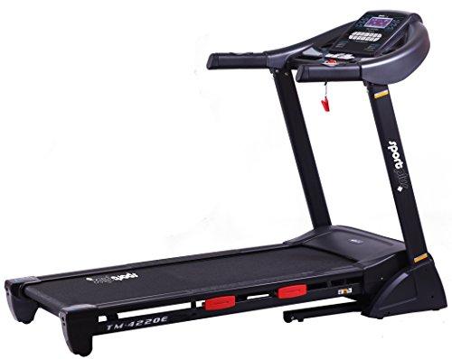 SportPlus Profi Laufband bis 20km/h, 16% Steigung elektrisch, 2,5 PS leiser Motor, 24 Trainingsprogramme, APP, Smartphone-Steuerung, große Lauffläche, Dämpfungssystem bis 125kg, schneller Aufbau, klappbar - SP-TM-4220E