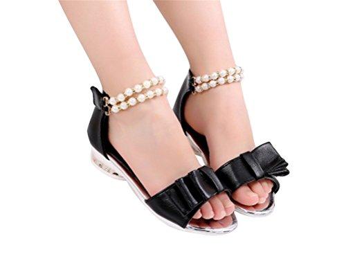 Brinny Fille Sandale princesse Rond Bout Arc pearl Sandals chaussures de Baptême Communion célébration mariage festive Noir