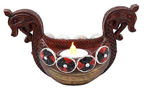 Ebros Geschenk Antike Wikinger Langschiff Kerzenhalter Figur Nordic Viking Alter Teelicht Votivkerze Decor -