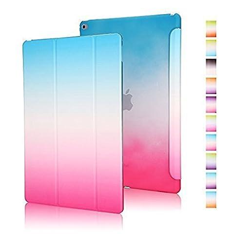 Highdas Leicht Ipad Hülle Farbe Rainbow-Serie Smart Schutzhülle Case Transparent Zurück Case Stand Case für ipad mini 4 mit eingebauten Magnet für Schlaf / Wach-Funktion Schutz (Leichtem Polycarbonat-rahmen)