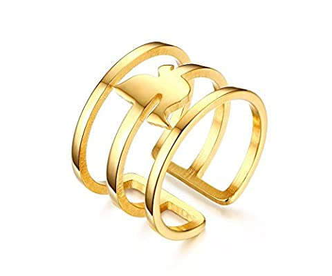 Vnox Edelstahl 18K Gold Midi Cuff Ring Vogel Open Knöchel Hochzeit Band für Frauen Gold