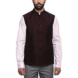 Van Heusen Mens Mao Collar Printed Nehru Jacket