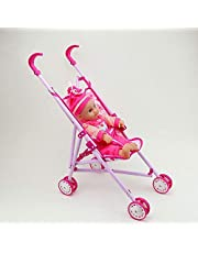 VEZOL Kids Carriage Stroller Trolley Nursery Toy Set with (2 Doll Set)