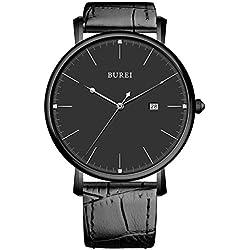 BUREI® Unisex Ultradünnes Elegant Datum Quarz Armbanduhr mit schwarzen Kalbslederarmband Band, Schwarzes Ziffernblatt