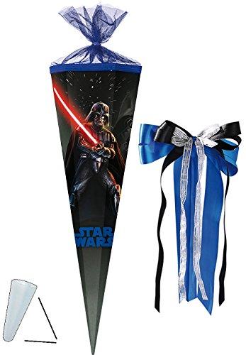 alles-meine.de GmbH Schultüte -  Star Wars / Darth Vader  - 85 cm - eckig - incl. große Schleife - Tüllabschluß - Zuckertüte - mit / ohne Kunststoff Spitze - Mädchen & Jungen -..