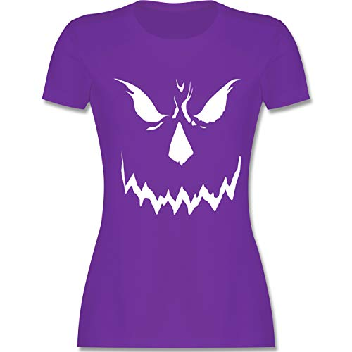 Halloween - Scary Smile Halloween Kostüm - S - Lila - L191 - Damen T-Shirt Rundhals