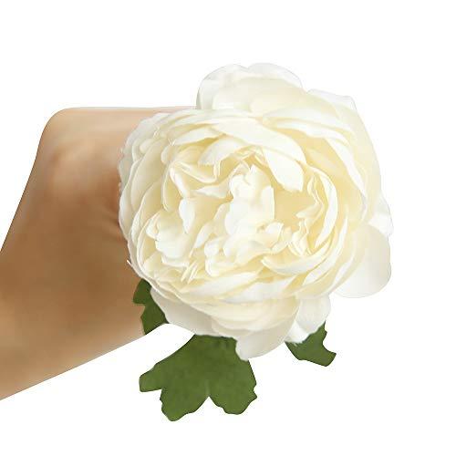 Fake Western Rose Blume Pfingstrose Braut Blumenstrauß Hochzeit Zuhause Dekor WH (Weiß) ()