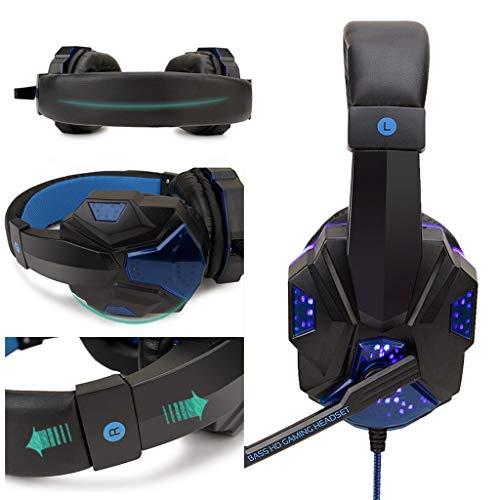 USB Filaire LED 3.5mm Casque de Jeu rougeoyant avec Micro, Casque Gaming Bien Anti-Bruit, Casque Gamer Confortable Compatible pour PS4/PC/Laptop/Tablette/Smartphone (Bleu)