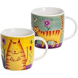 Conjunto 2 Tazas Desayuno Originales de café té con decoración de Divertido Gatos, Color Verde y Amarillo para microondas, Regalo para los Amantes de los Animales de Gato Set Cat Mugs Cups Gift