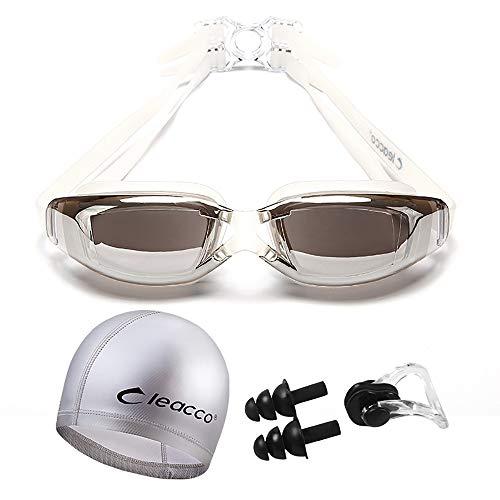 ZUZEN Schwimmen Sie Goggle Adult Rezept-Schwimmen-Goggles mit Hut Ear Plug Nose Clip Case, HD Anti-Fog Waterproof Swiming Goggles Suit,Silver