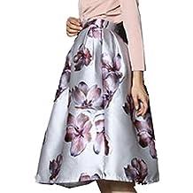 CRAVOG Faldas Largos para Mujer Vintage A Linea Vestido de Alta Cintura Midi Plisada Vestido