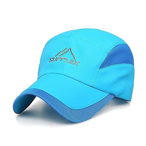 Fashian schnell trocknend Baseball Cap mesh einstellbar krumm breiter krempe Hut Sonnenschutz Sport Cap for draußen Angeln rennen Klettern Biker wandern s009 Hut (Color : Blue, Size : One Size)